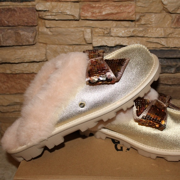 5f31a8bf0aa UGG SEQUIN COQUETTE BOW SLIPPERS NEW! Boutique